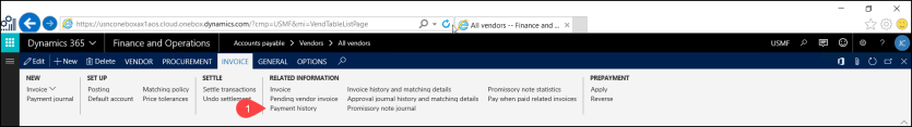 Opening a vendor's payment history